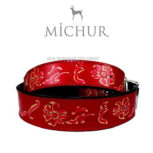 MICHUR Cheyenne, Hundehalsband, Lederhalsband, Halsband,ROT, LEDER, mit gestanzten Blumenmuster, in verschiedenen Größen erhältlich