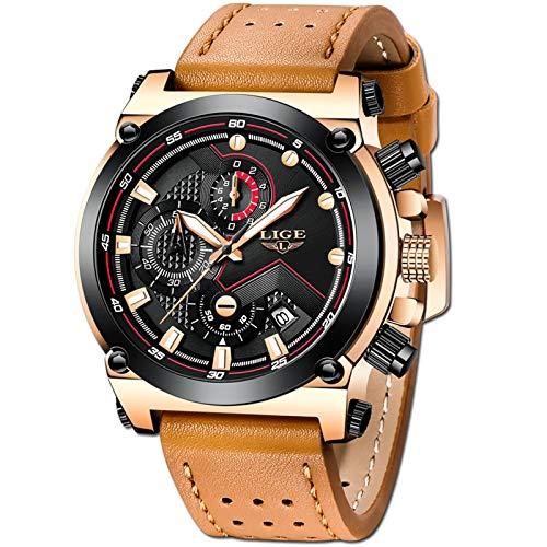 LIGE Herren Uhren Luxus Golden Großes Zifferblatt Analog Quarz Uhren Herren Militär Sport Braun Gürtel Armbanduhr
