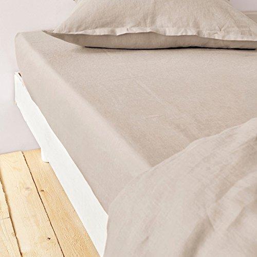 Home Inspiration Drap Housse, Coton, Beige, 140x190 cm