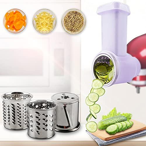 Shunfaji Gemüseschneider Set für kitchenaid Edelstahl Getreidemühlen, gemüse zerkleinerer Raffelvorsatz, Fleischwolf Zubehör Gemüseschneider Küchenmaschine