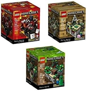 Minecraft Lego Collectible 3 Piece Set - (The Original) Minecraft 21102, the Village 21105, the Nether 21106. (Recommended Age 10-15 Yrs)
