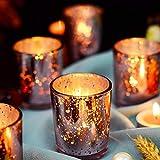 Supreme Lights Portavelas de cristal, juego de 12 unidades, 5,2 x 6,6 cm, vasos de vela de té, regalo para cumpleaños, fiestas, bodas, celebraciones, hogar, gastronomía (oro rosa)