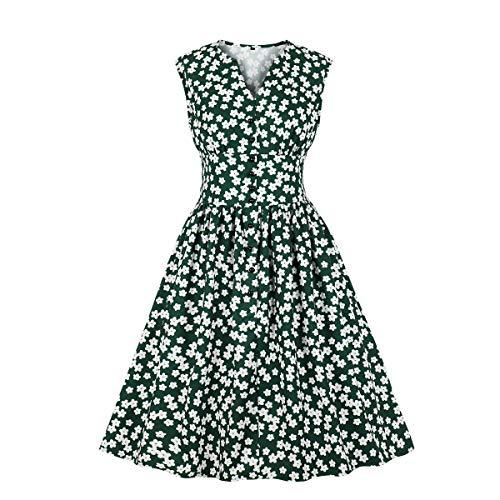 Women's V Neck Floral Button 1940s Vintage Tea Dress