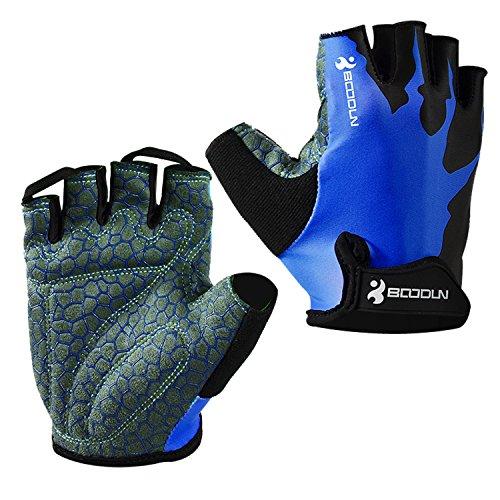 Eroilor Radsport Kurz Handschuhe Halb Finger Bike MTB Gloves Sommer Radhandschuhe für Damen/Herren - Blau - M