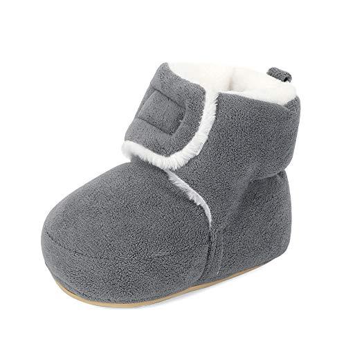 MASOCIO Baby Winterschuhe Mädchen Junge Babyschuhe Winter Baby Lauflernschuhe Boots Winterstiefel Schuhe Grau Größe 19 6-12 Monate