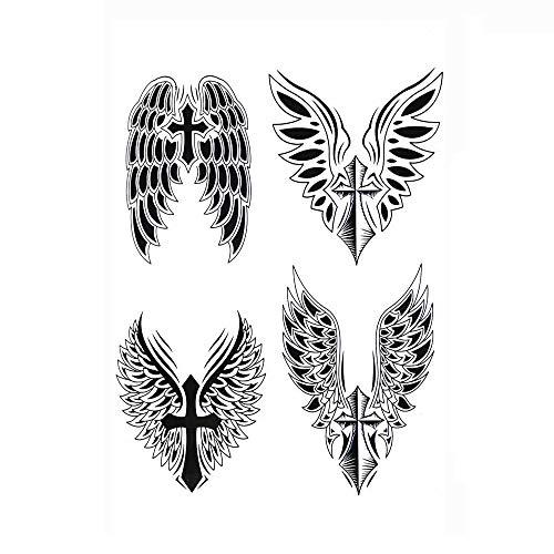 5Pcs 14.8X21CM Tatuaggi Temporanei Per Adulti Uomo Donne, Tatuaggio Temporaneo Adesivo Body Art, Ali Nere Croce Buddha Adesivi Tatuaggi Finti Impermeabili Per Braccio, Gamba E Viso