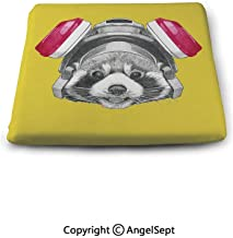 Waterproof Chair Pad Non-Slip Square,Funny Sketch of Red Panda with Gas Mask, Cushion 13.7x15x1.2 Inch