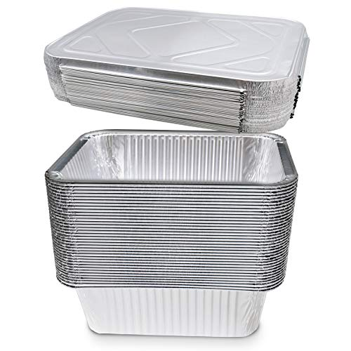 (20 Count) 5-lb Square Deep Disposable Aluminum Pans with Lids - Foil Pans Perfect for Baking Cooking Food and Storage Container