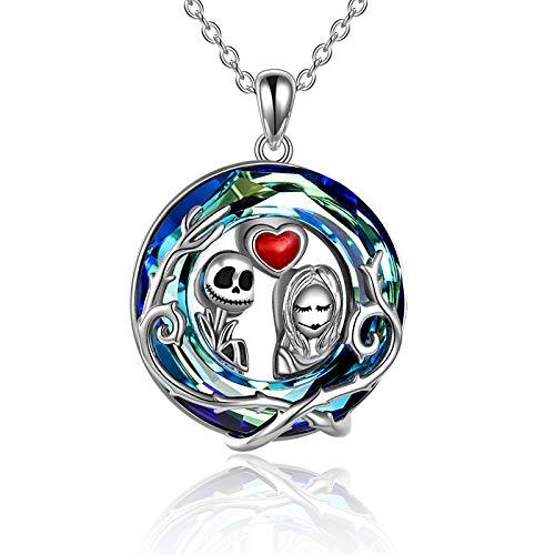 AOBOCO Collar de plata de ley Jack Skellington con cristales de pesadilla antes de Navidad, regalo de Jack y Sally cráneo para mujeres, esposa e hija