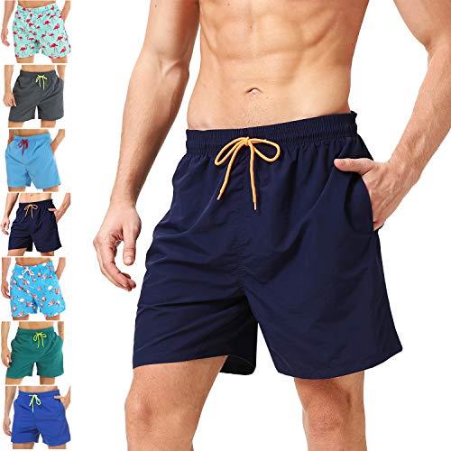coskefy Badeshorts für Männer Jungen Badehose Schwimmhose Schnelltrocknend Kurz Vielfarbig Beachshorts Boardshorts Strand Shorts Sporthose mit Mesh-Futter und Verstellbarem Tunnelzug Größe XS-XL