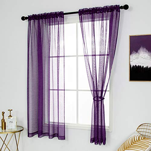 DUALIFE Dark Purple Sheer Curtains 45 Inch Length for Small Windows Set of2 Panels Short Sheer Voile Window Drapes Curtain Panels for Bedroom Living Room 52x45 Inch