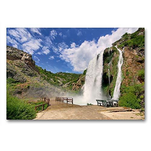 CALVENDO Premium Textil-Leinwand 90 x 60 cm Quer-Format Krcic Wasserfälle, Leinwanddruck von Thomas Polske
