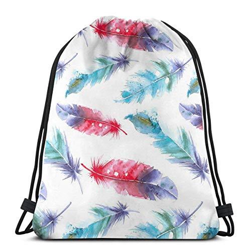 Bingyingne Mochila con cordón de plumas a juego de colores pintados en acuarela, bolsa de gimnasio, bolsa de cincha, bolsa de cuerda