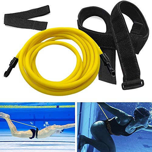 DPcrafts Swim Training Belts 4M Swim Training Resistance Belt Swimming Bungee Exerciser for Adult Kids Swim Trainer Tether Stationary Swimming with Swim Parachute Leash Mesh Pocket Safety Swimming