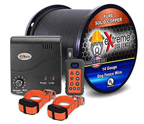 Electric Dog Fence + Remote Trainer - 2 Dog / 1000' of 14 Gauge Underground Dog Fence Wire (Up to 1 Acre) - Dual Solution to Contain and Train Your Dog(s) with a Single Collar