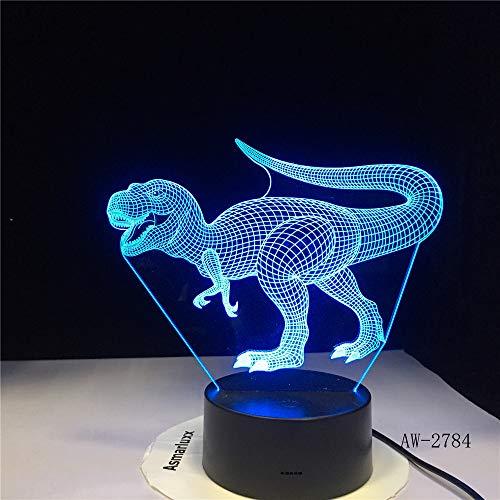 jiushixw 3D acryl nachtlampje met afstandsbediening van kleur veranderende tafellamp New Dinosaur Animal Gift Grey Velvet tafellamp Hanging
