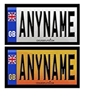 Coolrideplates 90 X 50 mm Personalised Waterproof Vinyl Rear Number Plate Stickers (x2) designed for...