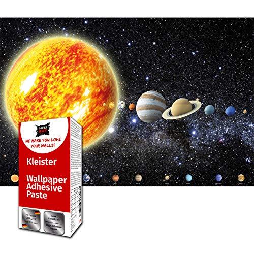 GREAT ART Fototapete Planeten Sonnensystem 210 x 140 cm – Kinderzimmer Solar System Galaxy Weltraum Erde Planeten Cosmos Space Deko Bildtapete – 5 Teile Tapete inklusive Kleister