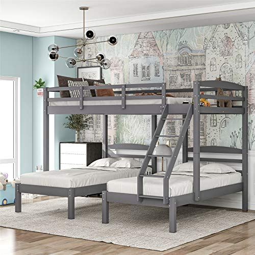 Full Over Twin and Twin Bunk Bed, Wooden Triple Bunk Bed with Storage for Kids Girls Boys, Space-Saving Bunk Beds for 3, Gray…