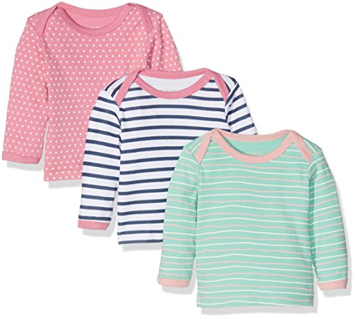 Care 550140 Camiseta Manga Larga, Multicolor (Rose), 6 Meses/68 cm, Pack de 3