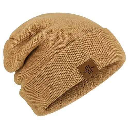 Wmcaps Classics Unisex Mütze, Mütze Damen, Leatherpatch Strickmütze, Long Beanie Cap für Damen und Herren, das ganze Jahr, weicher Stoff, one Size (Braun)