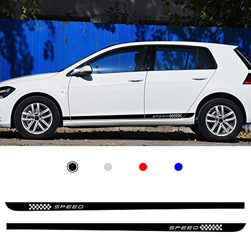 Cobear Auto Seitenstreifen Seitenaufkleber Aufkleber für V OLKSWAGEN Golf 7 MK7 Rennstreifen Racing Decals Viperstreifen Schwarz 2 Stück