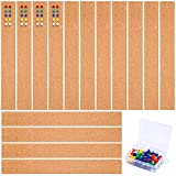Cooraby 15 Pack Cork Bulletin Board Frameless Self-Adhesive Cork Strips 2 x 13.7 Inches Memo Boards with 40 Pins for Office School and Kitchen