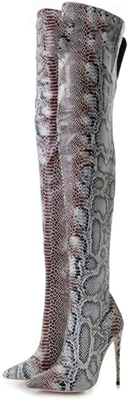 Mode Ladies hög klacked skor stövlar 12 cm cm cm Luxury Pointed Knee skor  för att ge dig en trevlig online shopping