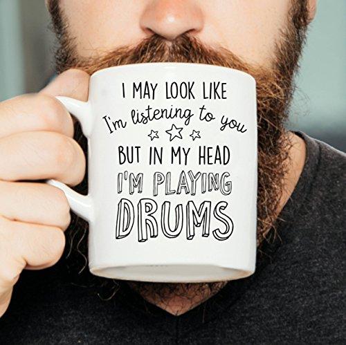 Puedo parecer que te estoy escuchando pero en mi cabeza estoy tocando la batería: taza de batería, taza de batería, taza de batería, regalo para batería, taza de músico
