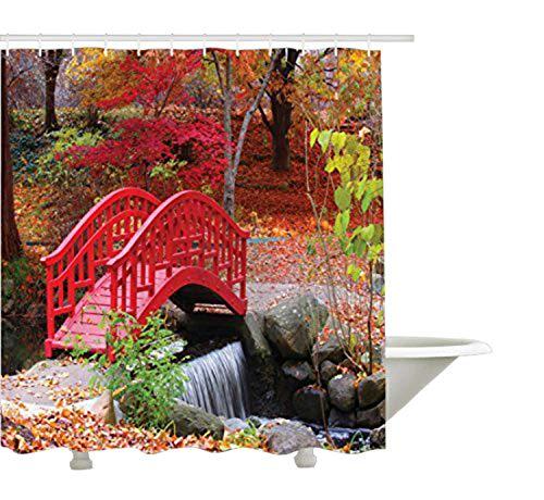Yeuss Japanese Decor Collection, asiatischer Garten mit eichenfarbener niedlicher Kleiner Brücke Natur im November, Herbstansicht, Bad-Duschvorhang aus Polyestergewebe mit Haken, rot-orange