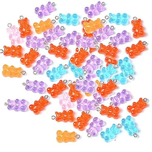 Onsinic 50pcs Encantos De Resina Linda De Osos De Gominola Multi Color Pendiente De Joyas para Mujer Muchachas De Historieta De Bricolaje