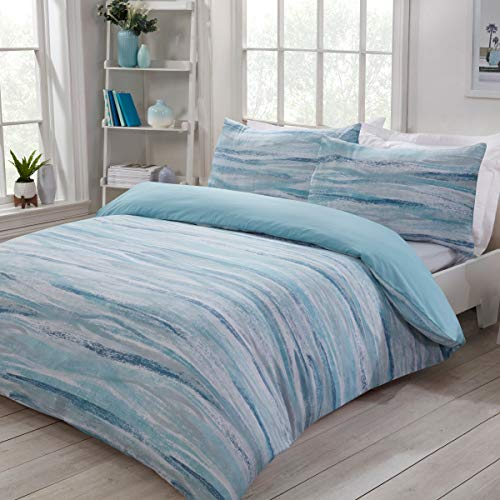 Sleepdown Nordic Sea Waves Abstract Stripes Blue Plain Reverse Easy Care Duvet Cover Quilt Bedding Set with Pillowcases - King (220cm x 230cm)
