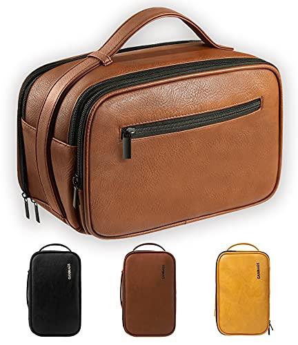 Mens Toiletry Bag, Travel Toiletry Organizer Dopp Kit Waterproof Shaving Bag for Toiletries Accessories,Brown