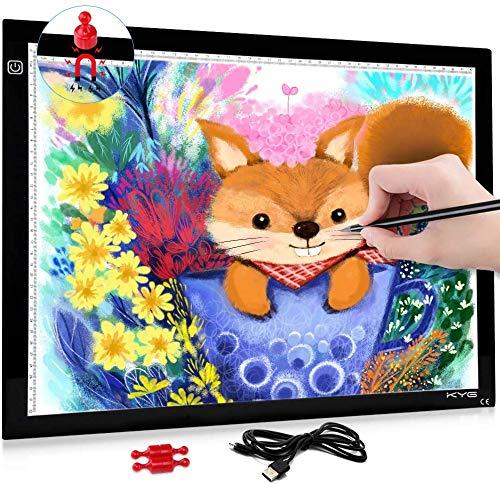 Magnetisch LED leuchttisch A3 Licht Pad einstellbare Helligkeit Lichtkasten Copy Board mit USB Kable Ideal für Designen Kopieren Zeichnen Skizzieren Animation [Energieklasse A+]