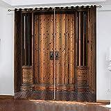 LWXBJX Opacas Cortinas Dormitorio - Arte de Puerta Vintage - Impresión 3D Aislantes de Frío y Calor 90% Opacas Cortinas - 234 x 230 cm - Salon Cocina Habitacion Niño Moderna Decorativa