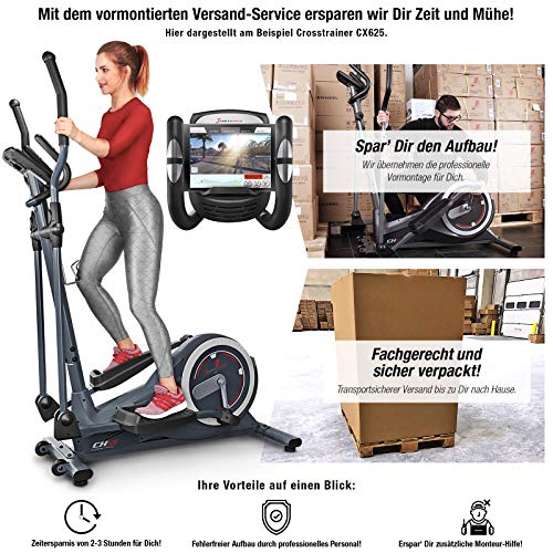 Sportstech Crosstrainer für zuhause | inklusive VORMONTAGE | Video Events & Multiplayer APP & Display | 24KG Schwungmasse | 22Programme & HRC Mode | Fitness Heimtrainer CX625 inkl. Tablethalterung