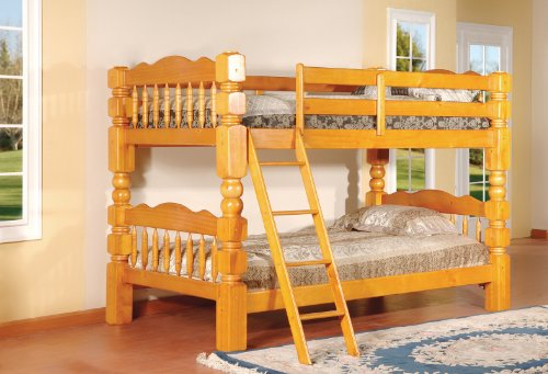 King's Brand Wood Convertible Bunk Bed, Twin, Honey Oak Finish