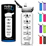 HydroMATE 32 oz Motivational Water Bottle with Time Marker BPA Free Bottle with Straw Reusable Workout Gym Fitness Bottle with Straw Track Intake & Drink More Water Hydro MATE 1 Liter Transparent