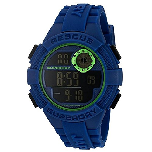 Superdry Herren Digital Quarz Uhr mit Silikon Armband SYG193U