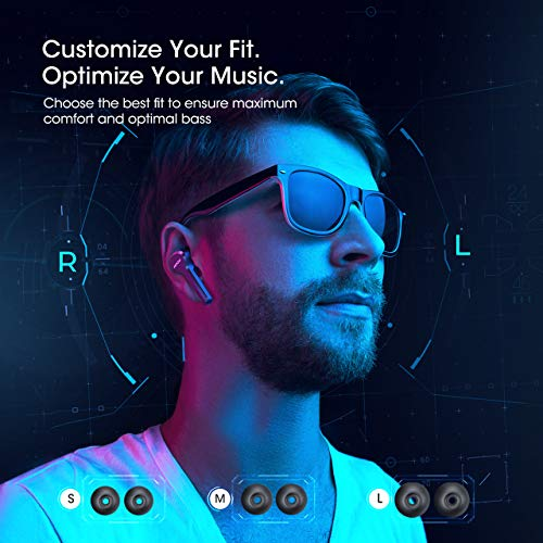 MPOW M9 True Wireless Earbuds w/ 200 Hours Standby and Bass, IPX7 Waterproof Bluetooth 5.0 Touch Key Headphones Charging Case, Wireless Earphones 30 Hours Playtime, in-Ear Mini Headset w/Microphones 3