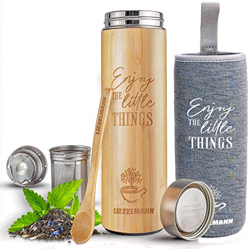 NEW Original Bamboo Tea Infuser Bottle with Tea Strainer | Leak-proof Lid. 17oz Tea Tumbler - Tea Infuser Tumbler & Travel mug | Vacuum Insulated bamboo tumbler | Tea Gifts for Tea Lovers Women