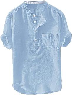 Camisa para Hombre Algodón y Lino Manga Corta Blusa Slim Fit Flojo Diaria Polos Verano con Estampadas Tops Originales Bara...