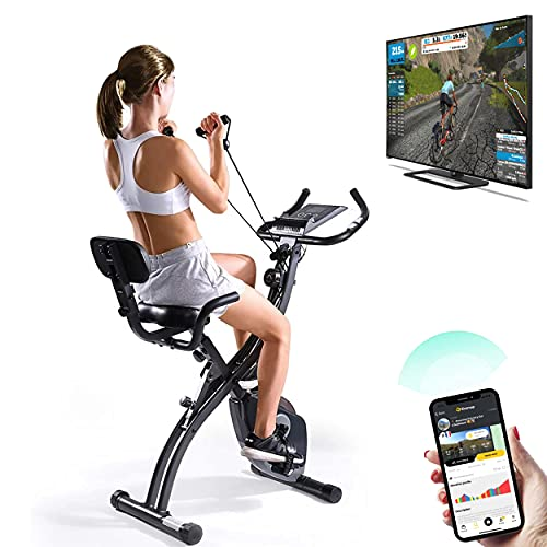 VRAi Fitness SXB-350 Bluetooth Smart Folding Exercise Bike | Kinomap | Smartphone App Compatible | Live Video Streaming Classes, Coaching & Training | Indoor Cycling Home Gym | Magnetic Resistance