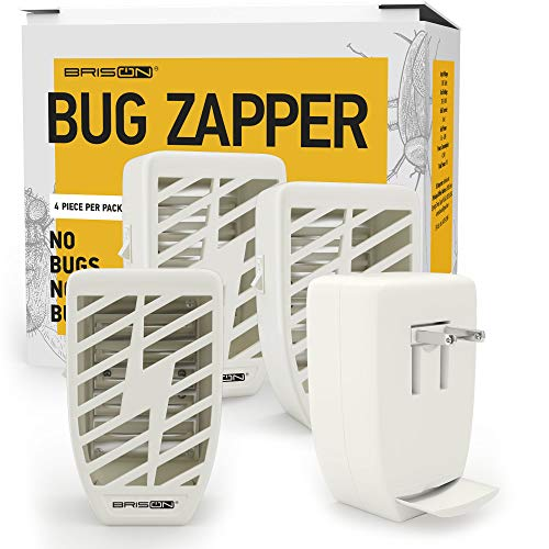 Indoor Plug-in Bug Zapper - Power Portable Home Electric Insect Trap - Odorless Noiseless for Removes Flies Mosquitos Gnats Moth and Bugs - 4 Packs - White