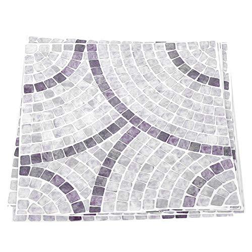 HechoVinen 10 pegatinas de azulejos de 15 x 15 cm, color blanco y gris, antideslizante, para decoración de pared