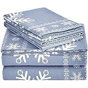 Pinzon Cotton Flannel Bed Sheet Set - Full, Snowflake Dusty Blue