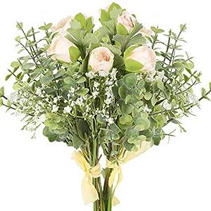 AILANDA Artificial Flowers Bouquet Silk Flowers Babys Breath Fake Dew Lotus Gypsophila Bouquet Decor for Home Wedding Office Table Centerpieces