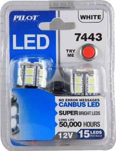 Pilot Automotive (IL-7443W-15-AM) White 15-SMD LED Turn/Tail Light Bulb - 2 Piece