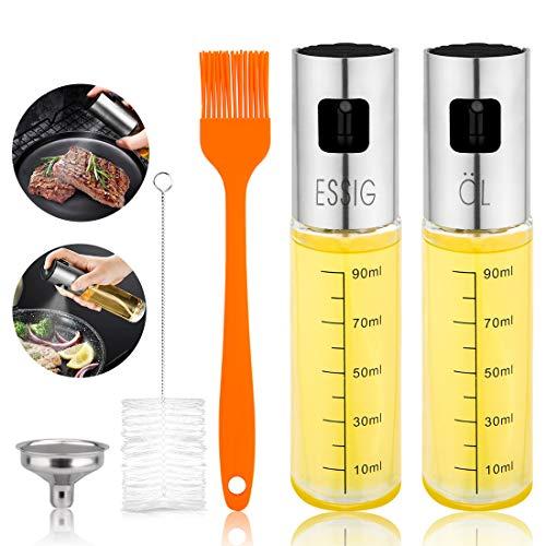 2 Stück Glas Ölsprüher Flasche Essig und Ölsprüher Öl Sprühflasche ÖlSprayer Essig Sprüher Set für BBQ,Kochen,Salate,Backen, Picknick und Grillen