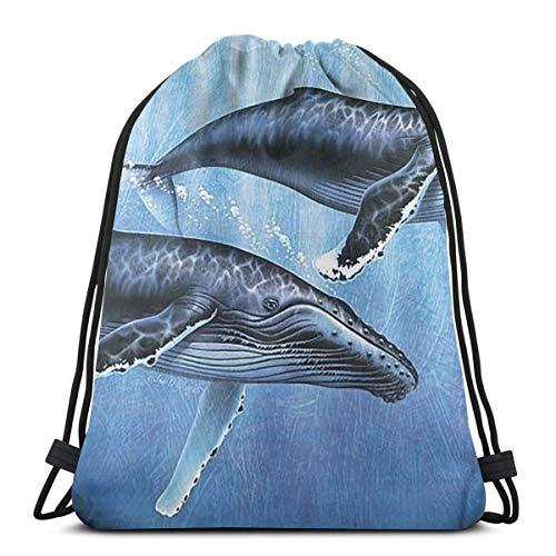 OPLKJ Gym Drawstring Bags, Whales Tote Rucksack Sackpack für Studenten Gym Sack Bag für Gym Schwimmhandschuhe Aufbewahrungstasche